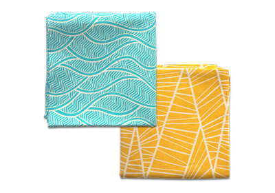 2 furoshikis : Ondes Turquoise et Forêt Or