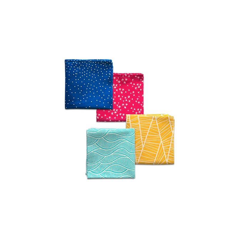 4 furoshikis : Ondes Turquoise, Forêt or, Nuit Bleu et Pétales Framboise