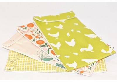 Pochette imperméable coton bio à motifs grande