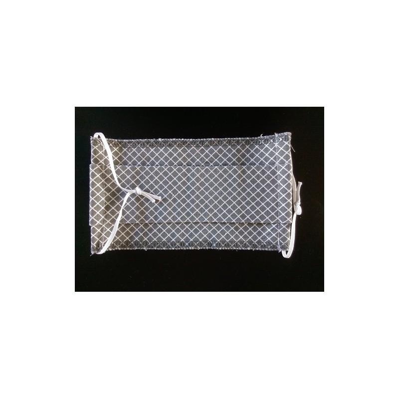 Masque de protection adulte - carreaux gris