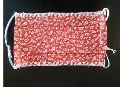 Masque de protection - Enfants : 7 - 12 ans - Rouge fleurs